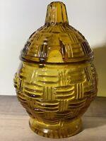 Vtg Amber Glass Pineapple Shape Woven Design  Marmalade Jam Server Jar RETRO EUC