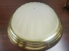 Ceiling Lighting Flush Mount Polished Brass Finish; Frosted Glass