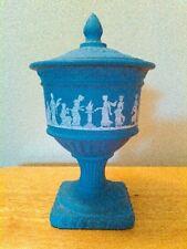 Vintage Avon Wedgewood Blue Grecian pedastal covered dish/vase/urn/candle holder