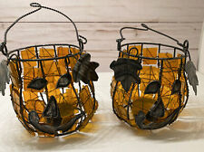 Stained Glass Pumpkin Halloween Tea Light Candle Holder decor -set Of 2