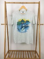 VTG 1990 Air Waves Bass Fishing Graphic 50/50 Super Thin T-Shirt Size L USA
