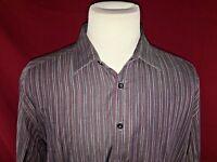 Pronto Uomo Striped Long Sleeve Button Up Shirt Men's Size XXL 100% Cotton