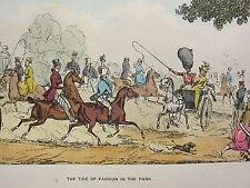 1892 Hand Farbiger Druck ~ The Tide Of Mode Im Park Pferd & Wagen