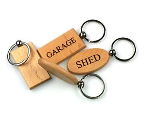 Free Personalisation Beech Wood Keyrings Oval and Rectangular