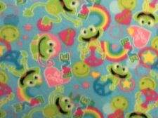 """Frog Love Rainbow Peace Sign Animal Fleece Fabric on blue, 60"""" wide, sold BTY"""