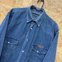 Vintage Wrangler Heavy Denim Long Sleeve Shirt Men's Small S Blue Pearl Snap