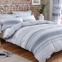 Polycotton Striped Design Reversible Duvet Set or Curtains in Blue, White & Grey