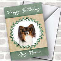 Continental Toy Spaniel Papillon Dog Green Animal Personalized Birthday Card