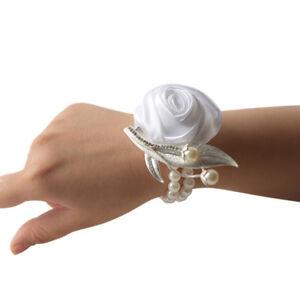 1pc Wrist Corsage Bracelet Bridesmaid Hand Flowers Wedding Party Bouquet Decor