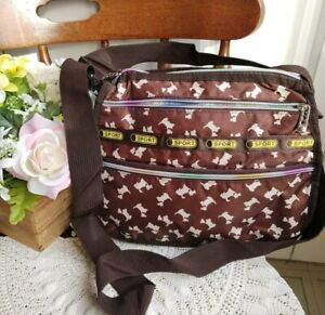 NWOT Le Sportsac Crossbody Shoulder Handbag Purse Dog Theme Washable