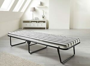 JAY-BE Value Folding Bed with Breathable Airflow Mattress, Fabric, Black, Single