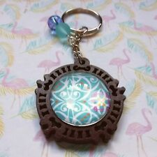 Wooden Pendant Keyring Glass Cabochon Blue Coloured Pattern & Beads Gift