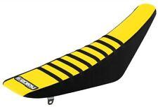 SUZUKI RM 125 / 250 2001 - 2012 Black Yellow Black Ribbed Gripper Seat Cover