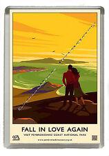 Pembrokeshire Old & Nostalgic Poster  - Fridge Magnet - Jumbo Size 90mm x 60mm