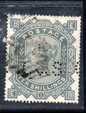 GB Victoria sg128 10 shilling grey green used perfin