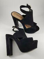 New Look size 5 (38) black faux suede buckle strap peep toe platform block heels