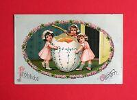 Super Prägedruck AK OSTERN 1912 Kinder mit Riesen Osterei  ( 46153