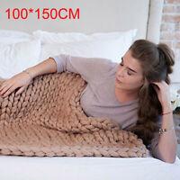 Winter Warm Chunky Knitted Thick Blanket Hand Yarn Merino Bulky Throw Sofa Knit