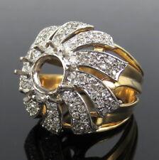 Vintage 3.0ct Diamond & 18K White & Yellow Gold Semi Mount Ballerina Ring Size 6
