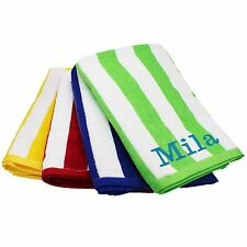 Custom Embroidered Striped Pool, Beach Towel - Red, Blue, Green, Yellow Towels