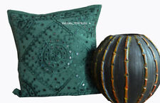 "New Mirror Work Indian Cotton Ethnic Square Pillow Cover 16X16"" Cushion Cover"