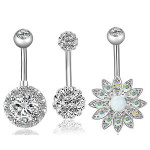3PCS/Set Stainless Steel Crystal Opal Belly Button Rings Navel Piercing JewY SC