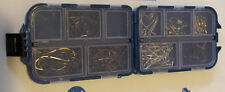 Mustad Hooks, 25 of each size 8,4,2,1/0 in tackle box, 10 Swivels 110pcs total