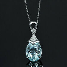 Vintage Gemstone  Natural Aquamarine Silver Chain Pendant Necklace Jewelry Gift-