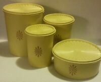 Vintage Yellow TUPPERWARE 8 piece Canister Set & Lids 805, 809, 811, & 1204