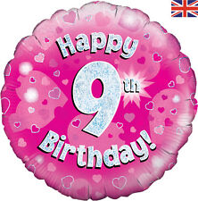 "OAKTREE Happy Birthday Round Holographic 18"" Foil Balloon Silver & PINK 9th No 9"