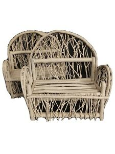 Set Of 2 Wicker Branch Twig Benches Couches for Dolls