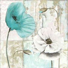4x Paper Napkins for Decoupage Decopatch Craft Blue Poppies