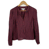 Country Road Womens Blouse Size Medium Long Sleeve Red Black Check Good Conditio