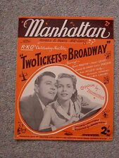 Manhattan,Vintage sheet music, Two Tickets to Broadway, Janet Leigh, Tony Martin