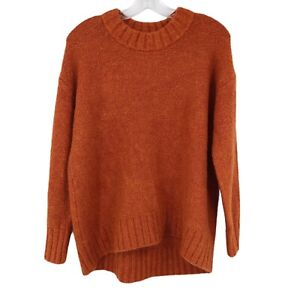 Old Navy Cozy Oversized Bouclé Crew Neck Sweater Burnt Orange Hi-Lo Women Size S
