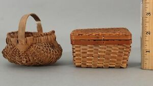 2 Antique Early 20thC Miniature Primitive Splint Baskets NO RESERVE!