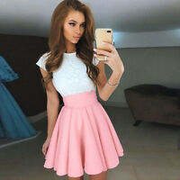 Women Stretch High Waist Vintage Lady A-Line Plain Skater Flared Pleated Skirt