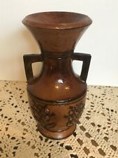 Small vintage beautiful hand carved and painted solid wood vase