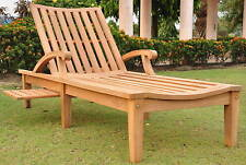 ND 100% Teak Arm Chaise Lounger Outdoor Garden Patio Steamer Chair Sun New