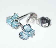1.21ct Natural greenish blue  Raw Rough Uncut Diamond earring 925 Silver cluster