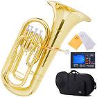 Mendini 4 Valve Gold Brass Bb Euphonium +Case+$39 Gift