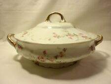 Theodore Haviland Limoges Round Covered Vegetable White Pink Roses & Gold Trim