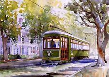 New Orleans Streetcar. Garden District Landscape. James Mann Watercolor Prints