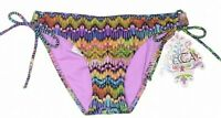 BECCA By Rebecca Virtue Women's Swimsuit String Bikini Bottoms Cinched Size XS