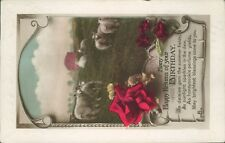 real photo Birthday happy returns floral inset sheep in field  real photo