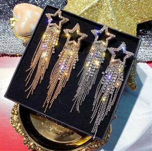 Fashion Long Tassel Crystal Earrings for Women Luxury Shiny Star Dangle Earrings