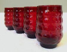 VINTAGE Anchor-Hocking '34-65; Set-of-4 BUBBLE-RUBY Flat Iced-Tea Glasses 12-oz