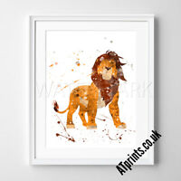 Lion King Print Poster Watercolour Framed Canvas Wall Art Disney Simba Scar