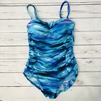 Inches Away One Piece Swimsuit Slimming Size 8 Blue Teal Striped