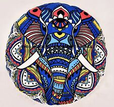 Indian Elephant Mandala Round Pets Bed Floor Pillow Ottoman Poufs Cover Daybed
